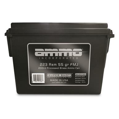 AMMO INCORPORATED, .223 Remington, FMJ, 55 Grain, Processed Brass, 200 Rounds with Ammo Can