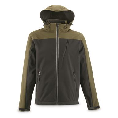 Guide Gear Men's Softshell Jacket, Black/olive