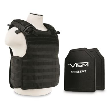 "VISM By NcSTAR Quick-Release Plate Carrier Vest with Two 10x12"" Level 3+ Body Armor Plates, Black"