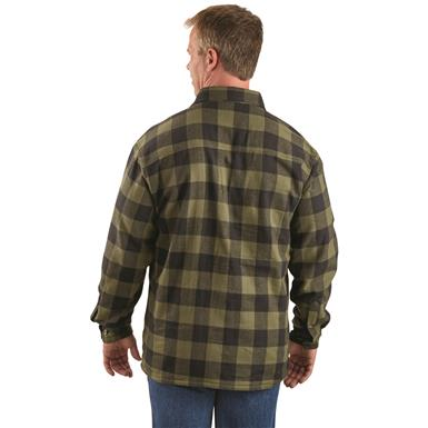 Back view, Olive/black Buffalo Plaid