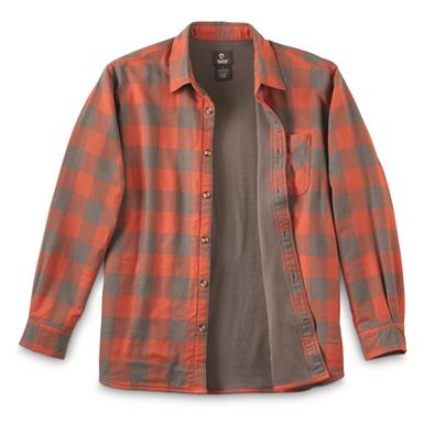 Guide Gear Men's Thermal Lined Flannel Shirt, Dark Orange/gray Buffalo Plaid