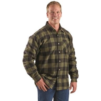 Guide Gear Men's Thermal Lined Flannel Shirt, Olive/black Buffalo Plaid