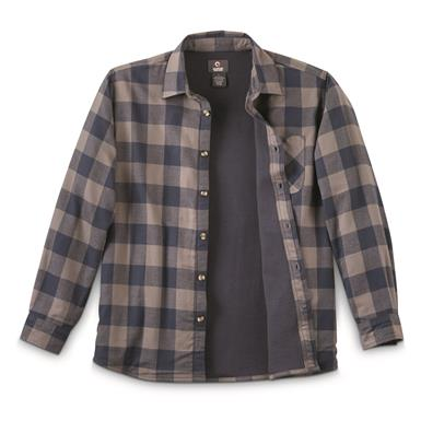 Guide Gear Men's Thermal Lined Flannel Shirt, Navy/gray Buffalo Plaid