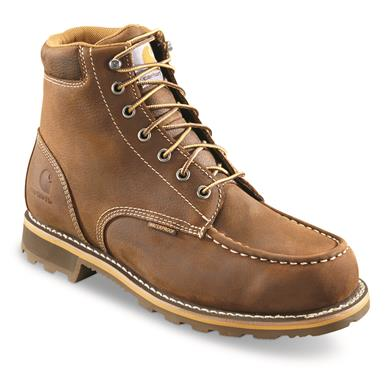 "Carhartt Men's Traditional Welt Waterproof 6"" Work Boots, Bison Brown"