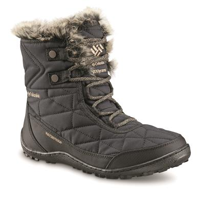 Columbia Women's Minx Shorty III Waterproof Winter Boots, 200 Gram, Black Pebble