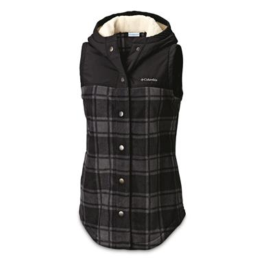 Columbia Women's Benton Springs Insulated Overlay Vest, Black Buffalo Plaid