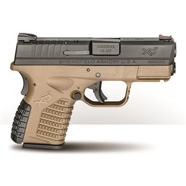 "Springfield XD-S 3.3"" Single Stack, Semi-Automatic, .45 ACP, 3.3"" Barrel, FDE Frame, 5+1 Rounds"