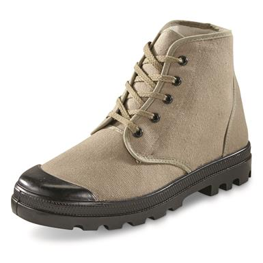 Mil-Tec French Style Canvas Commando Boots, Olive Green, Olive Drab
