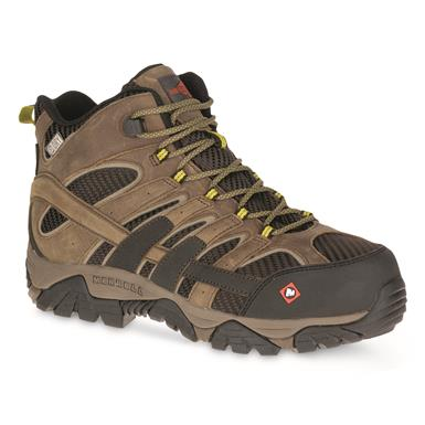Merrell Men's Moab 2 Vent Mid Waterproof Composite Toe Work Boots, Boulder