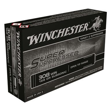 Winchester, Super Suppressed, .308, FMJOT, 168 Grain, 20 Rounds