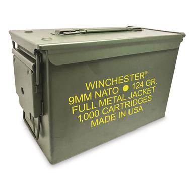 Winchester, NATO 9mm Luger, 124 Grain, FMJ, 1,000 Rounds with Ammo Can