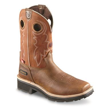 Tony Lama Men's Midland Rust Waterproof Composite Toe Western Work Boots, Brown