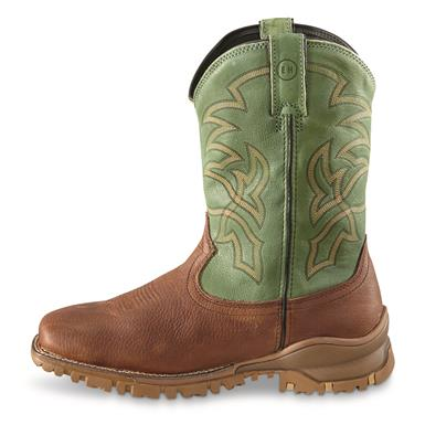 Tony Lama Men's Roustabout Green Waterproof Western Work Boots, Brown