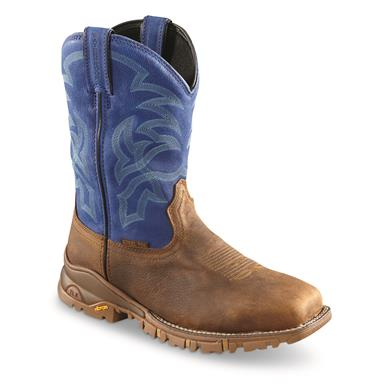 Tony Lama Men's Roustabout Blue Waterproof Steel Toe Western Work Boots, Brown