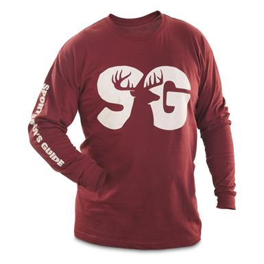 Sportsman's Guide T-Shirt, Terrain Logo, Long Sleeve, Burgundy