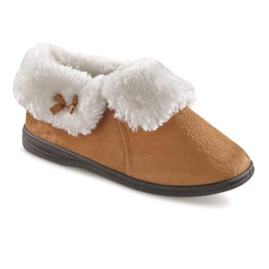Guide Gear Women's Microsuede Bootie Slippers, Chestnut