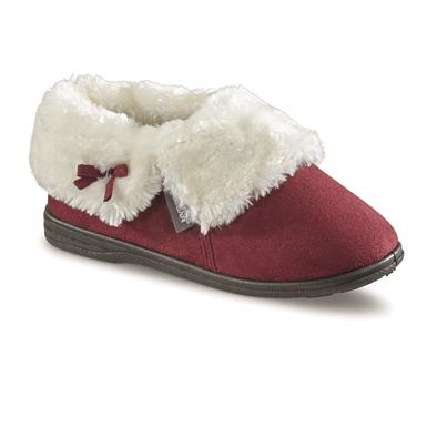 Guide Gear Women's Microsuede Bootie Slippers, Burgundy