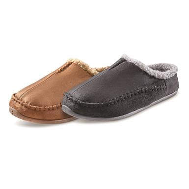 Guide Gear Men's Microsuede Clog Slippers, Black,(700)Chestnut