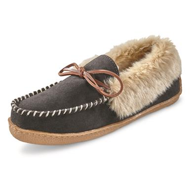 Guide Gear Women's Suede Moccasin Slippers, Charcoal