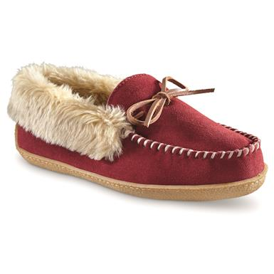 Guide Gear Women's Suede Moccasin Slippers, Burgundy