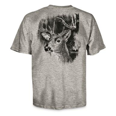Ruger Men's Buck Woods Logo Tee, Sport Gray