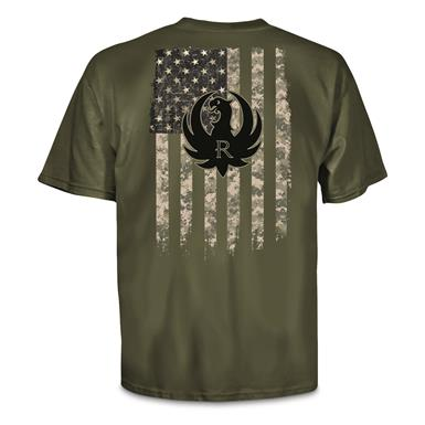 Ruger Men's Military Camo Logo Tee Shirt, Military Green