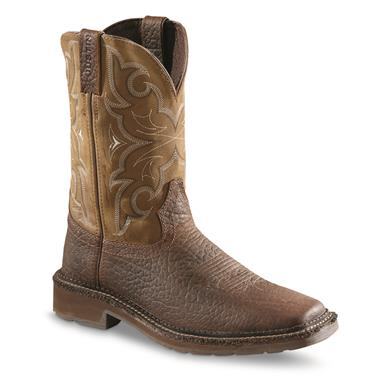 Justin Men's Stampede Amarillo Cactus Square Toe Work Boots, Chocolate Tomboni