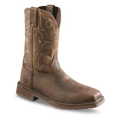 Justin Men's Stampede Amarillo Cactus Square Steel Toe Work Boots, Chocolate Tomboni