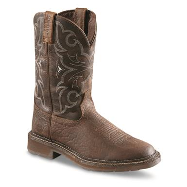 Justin Men's Stampede Amarillo Chocolate Round Toe Work Boots, Chocolate Tomboni