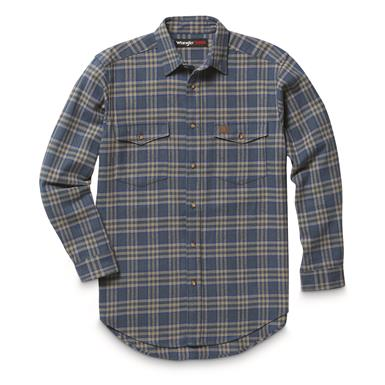 Wrangler RIGGS Workwear Men's Heavyweight Flannel Shirt, Olive Blue