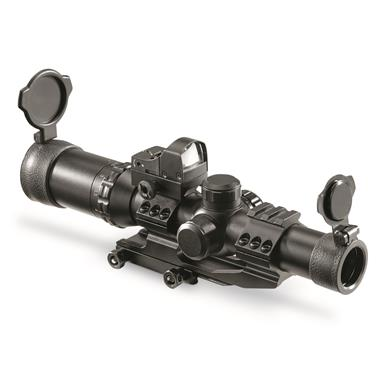 HQ ISSUE, 1-4x24mm, Illuminated Mil Dot, Rifle Scope with Red Dot Sight