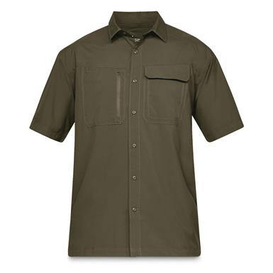 Under Armour Men's Tactical Hunter Short Sleeve Button Down Shirt, Military Olive Drab Green
