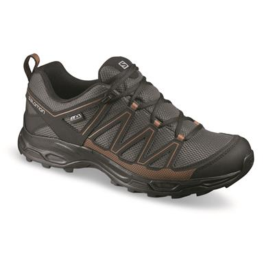 Salomon Men's Pathfinder CSWP Low Waterproof Hiking Shoes, Beluga/black/leather Brown