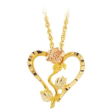 Mt. Rushmore Black Hills Gold® 10K Rose / Heart Pendant Necklace