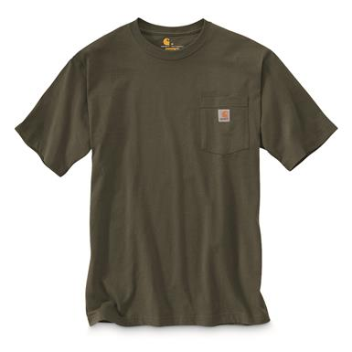 Carhartt Men's Workwear Short Sleeve Pocket Shirt, Army Green