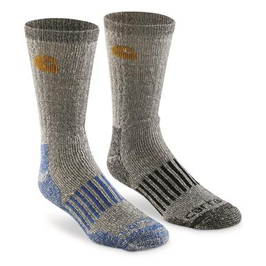 Carhartt Men's Cold Weather Wool Blend Boot Socks, 4 Pairs, Black/Blue