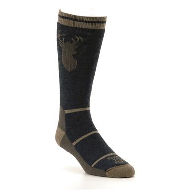 Farm To Feet Men's Engelwood Midweight Stag Crew Socks, Denim/lead Gray