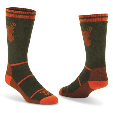 Farm To Feet Men's Engelwood Midweight Stag Crew Socks, Hunter Green/red Orange