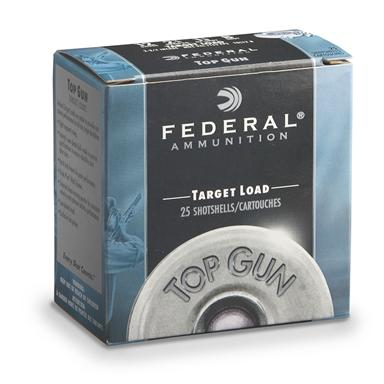 "Federal, Top Gun Target, 12 Gauge, 2 3/4"", 1 1/8 oz. Shotshells, 25 Rounds"