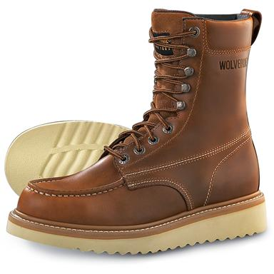 "Wolverine Men's Moc Toe 8"" Work Boots, Tan"