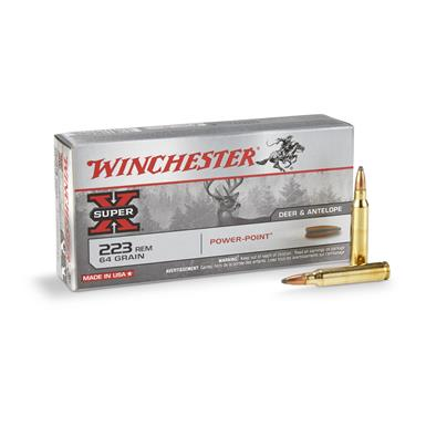 Winchester Super-X Rifle .223 Remington, PP, 64 Grain, 20 Rounds