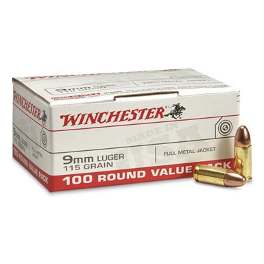 Winchester, 9mm Luger, FMJ, 115 Grain, 100 Rounds