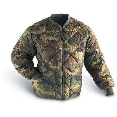 Military Style Insulated Diamond Quilted Flight Jacket, Woodland Camo