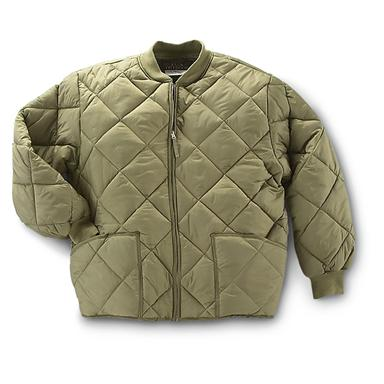 Military Style Insulated Diamond Quilted Flight Jacket, Olive Drab