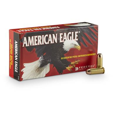 Federal American Eagle Pistol, 10mm Auto, FMJ, 180 Grain, 50 Rounds