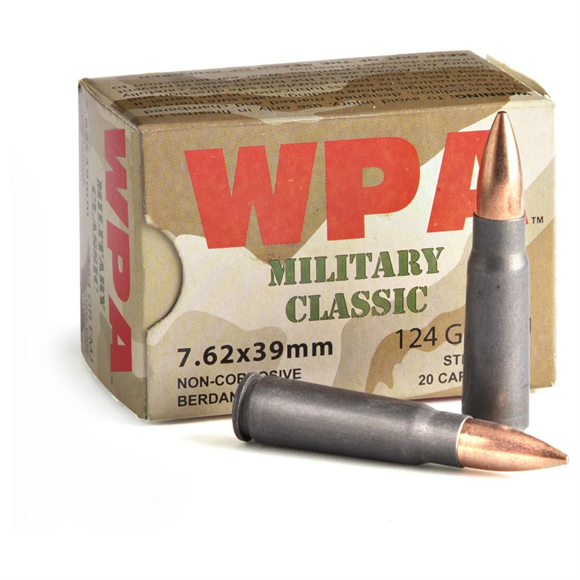 7.62x39mm, FMJ, 124 Grain, 1,000 Rounds