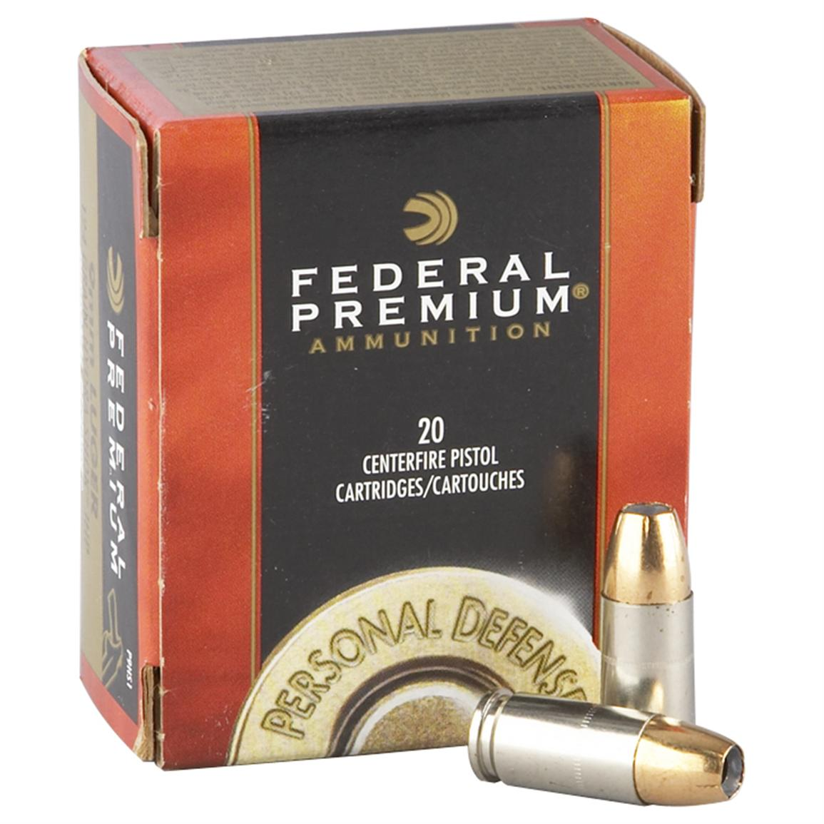 Federal Premium Hydra-Shok, 9mm Luger, HSJHP, 147 Grain, 20 Rounds