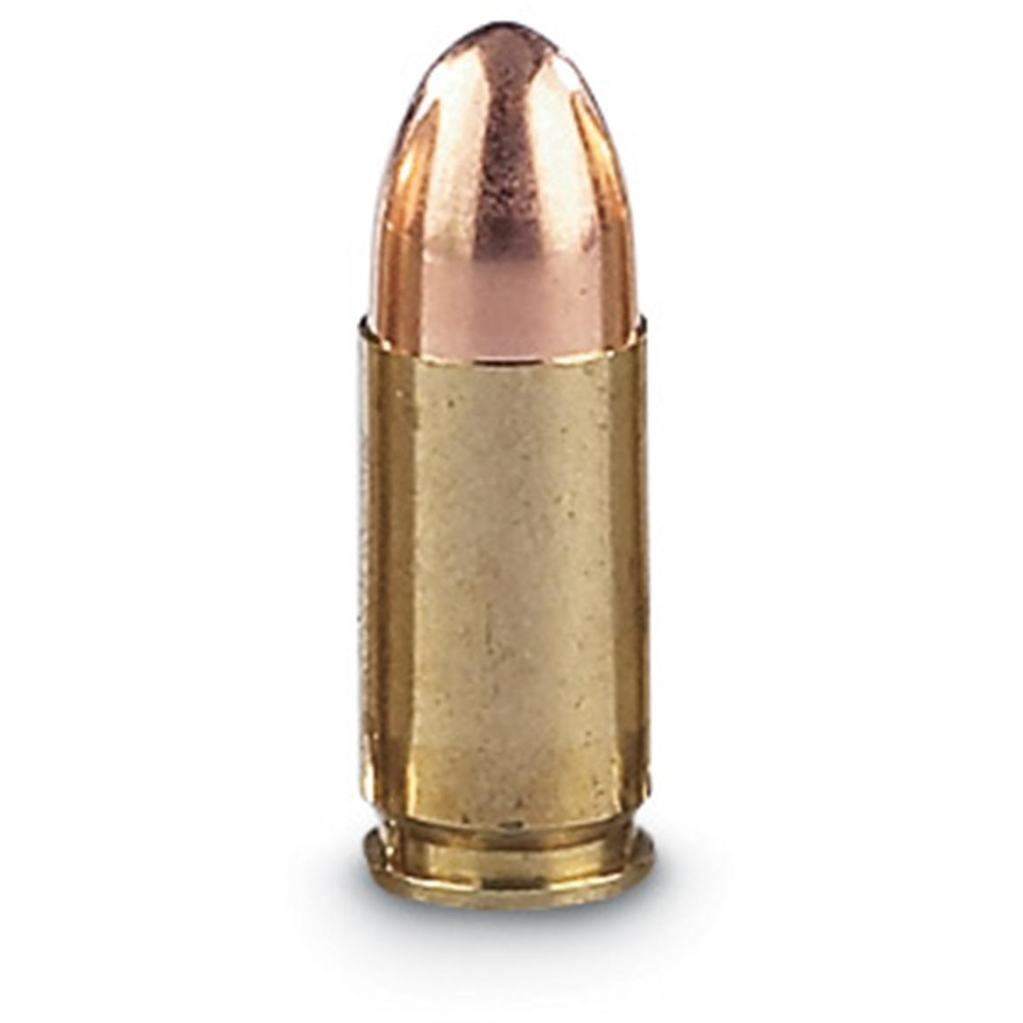 Boxer-primed and fully reloadable, brass-cased. Full metal jacket bullet