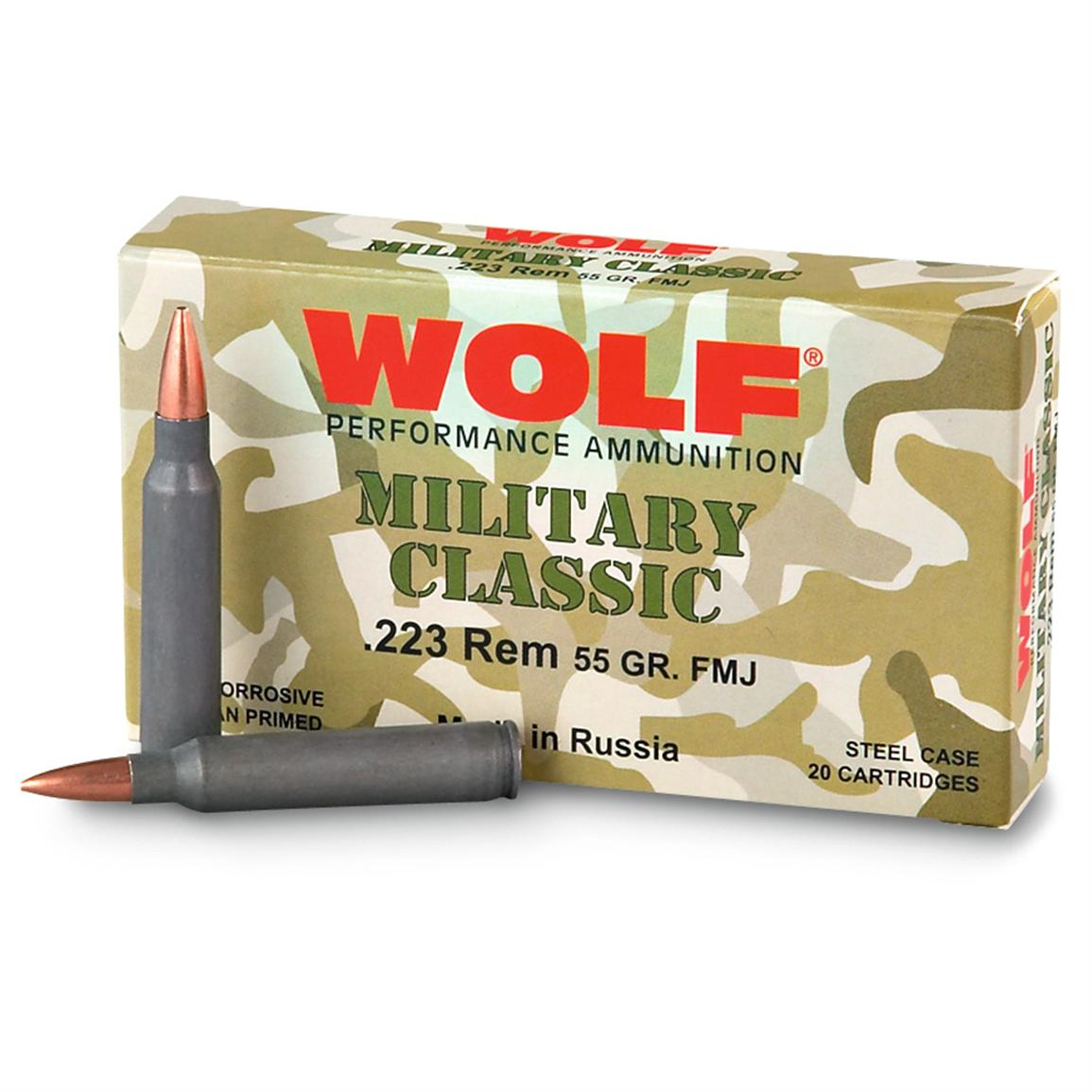 Wolf Military Classic, .223, FMJ, 55 Grain, 500 Rounds