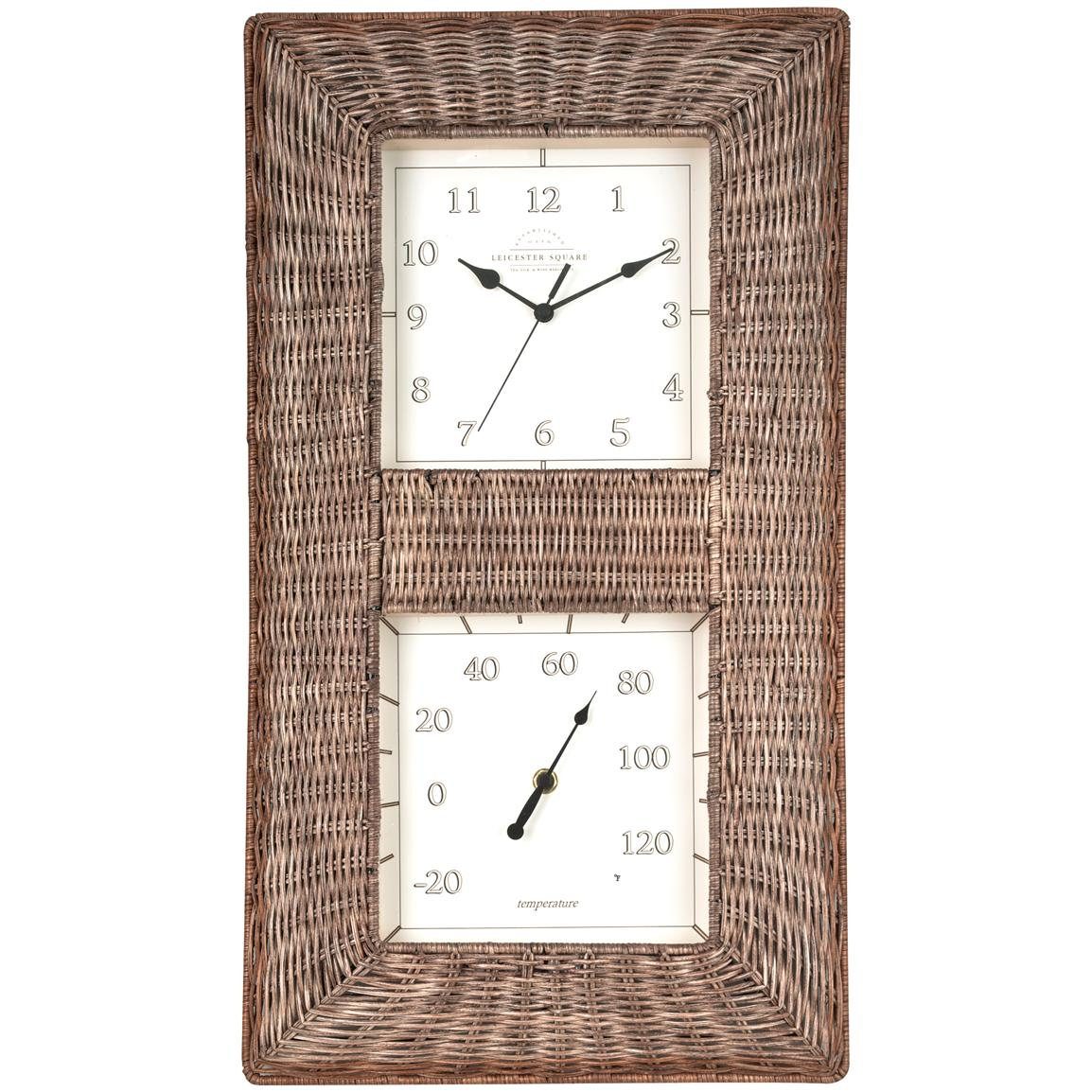 Wicker Thermometer / Clock Combo